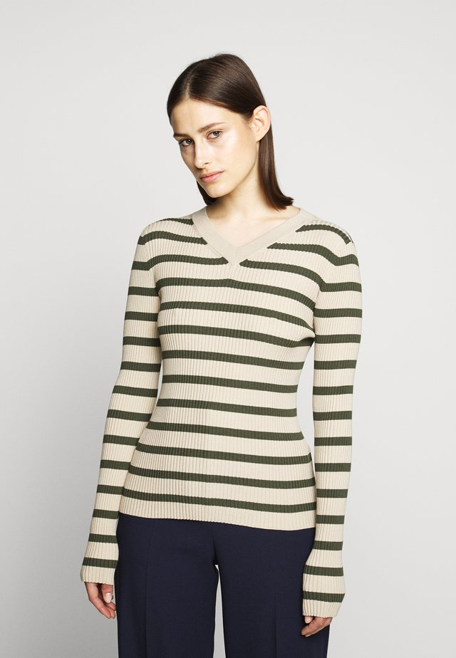 V NECK - Jumper - beige/khaki