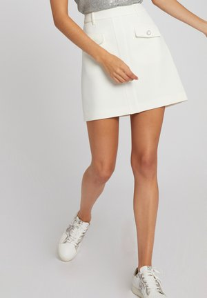 WITH BUTTONED FLAPS - A-line skirt - off-white