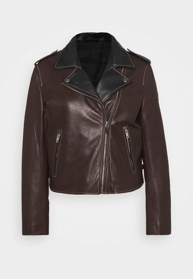 OVERCOAT - Leather jacket - brown/black