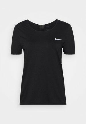 RUN - T-shirt basic - black/bright crimson/silver