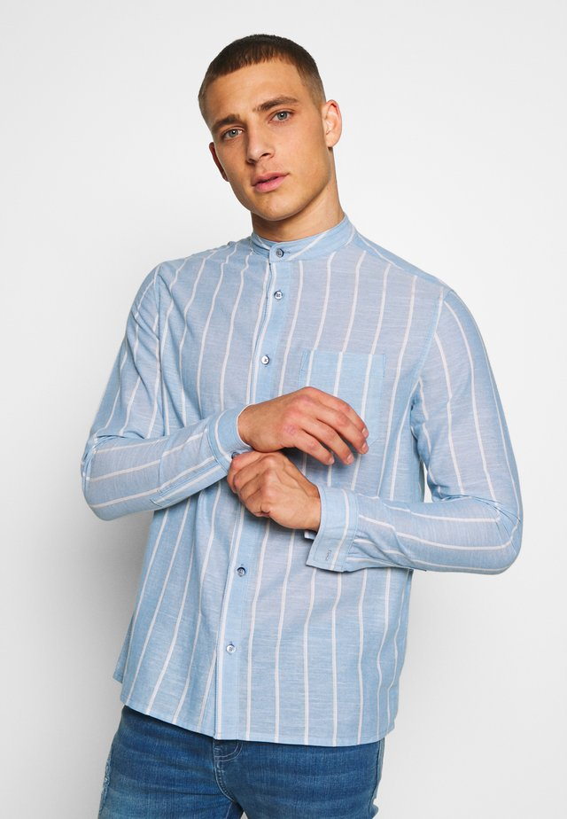 GRANDAD COLLARED STRIPE SHIRT - Shirt - blue