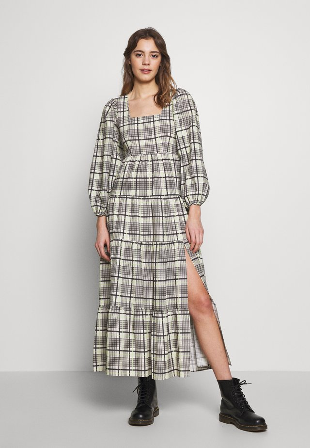 CHECK TIERED NECK SMOCK - Maxi dress - green