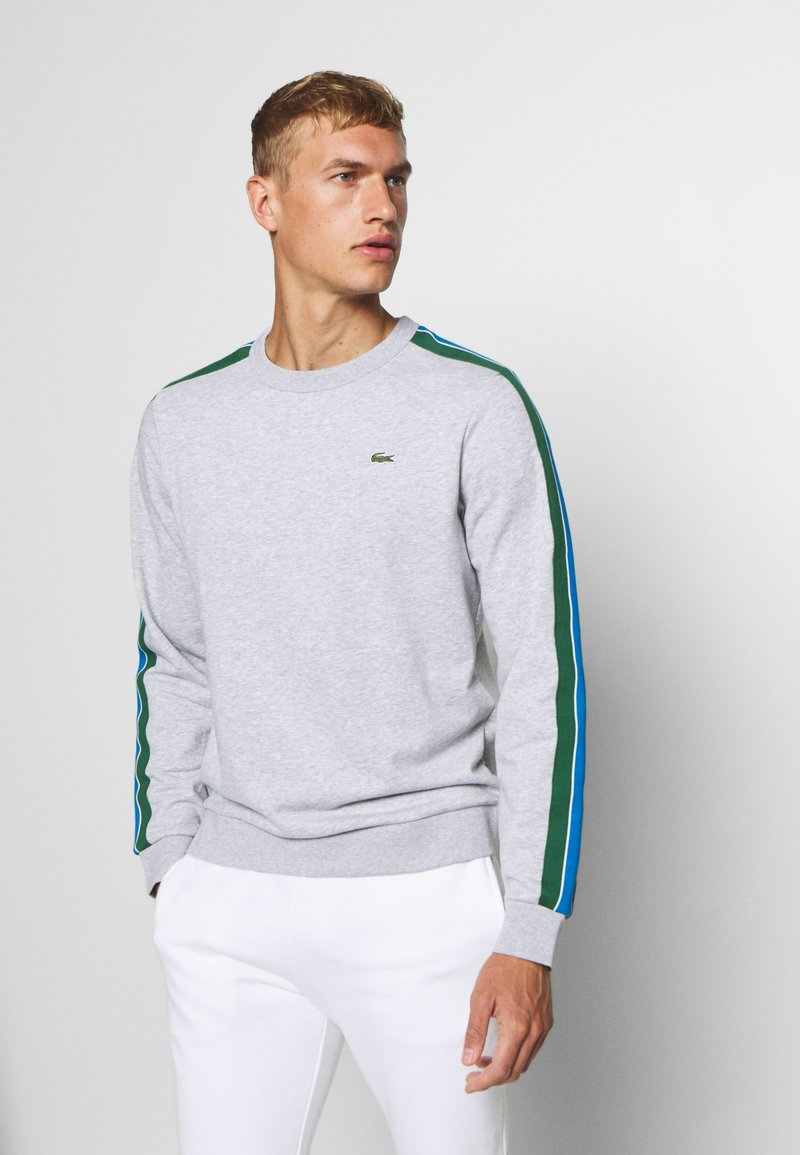 Lacoste Sport - RAINBOW TAPING - Collegepaita - silver chine/navy blue/utramarine/green/white