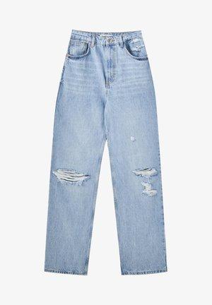MIT HOHEM BUND UND PASSE - Straight leg jeans - blue-grey