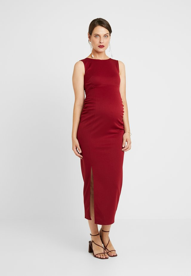 MIDAXI DRESS WITH SPLIT - Shift dress - bordeaux
