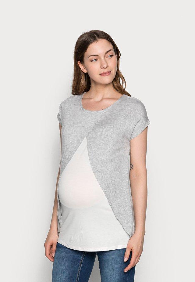 Print T-shirt - mid grey mélange