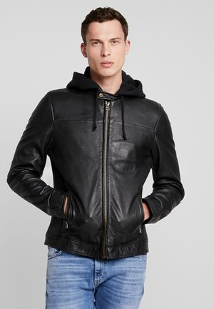 BRADLEY BIKER - Leather jacket - jet black