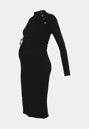 DRESS BUTTON - Vestido de punto - black