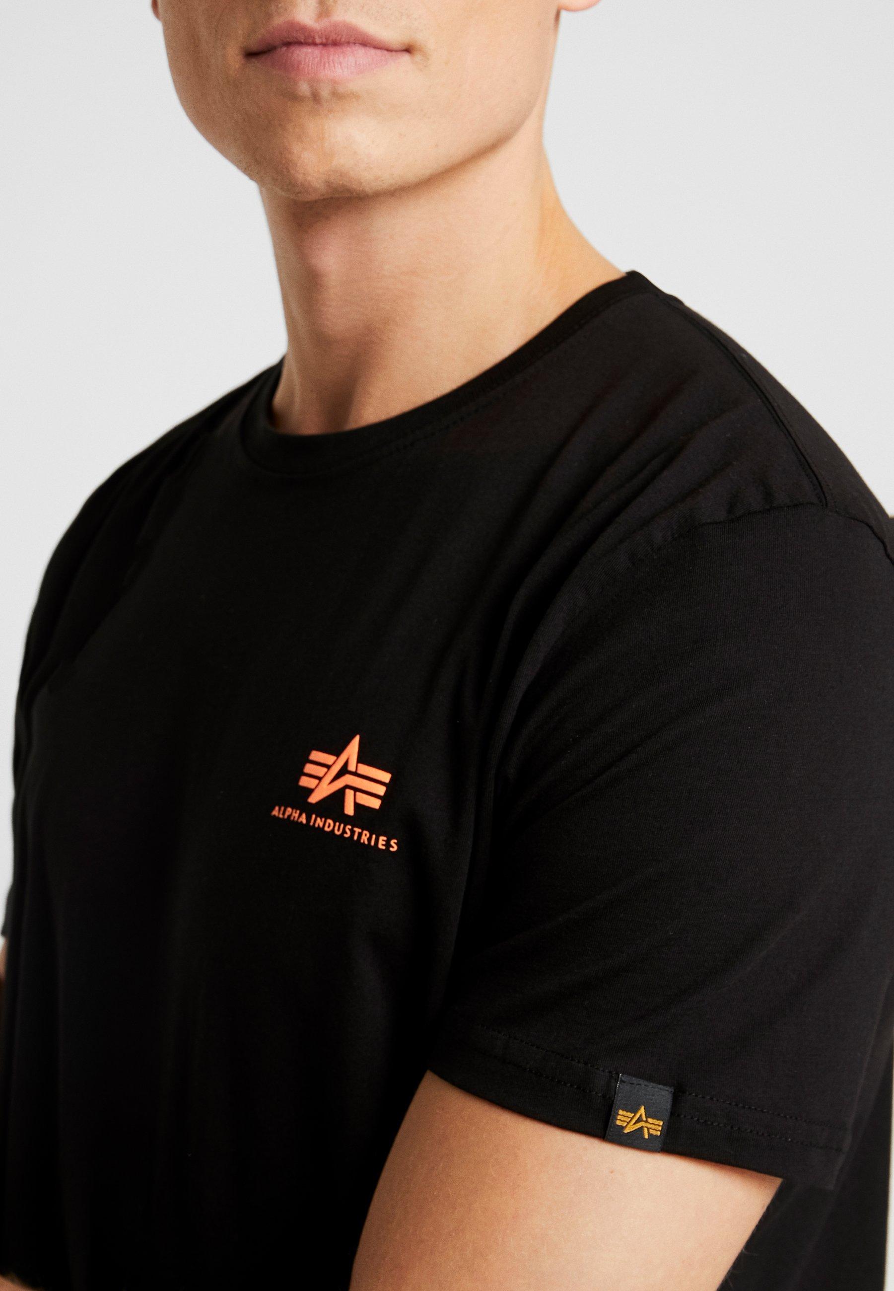 Alpha Industries Print T-shirt - black / neon orange peThm