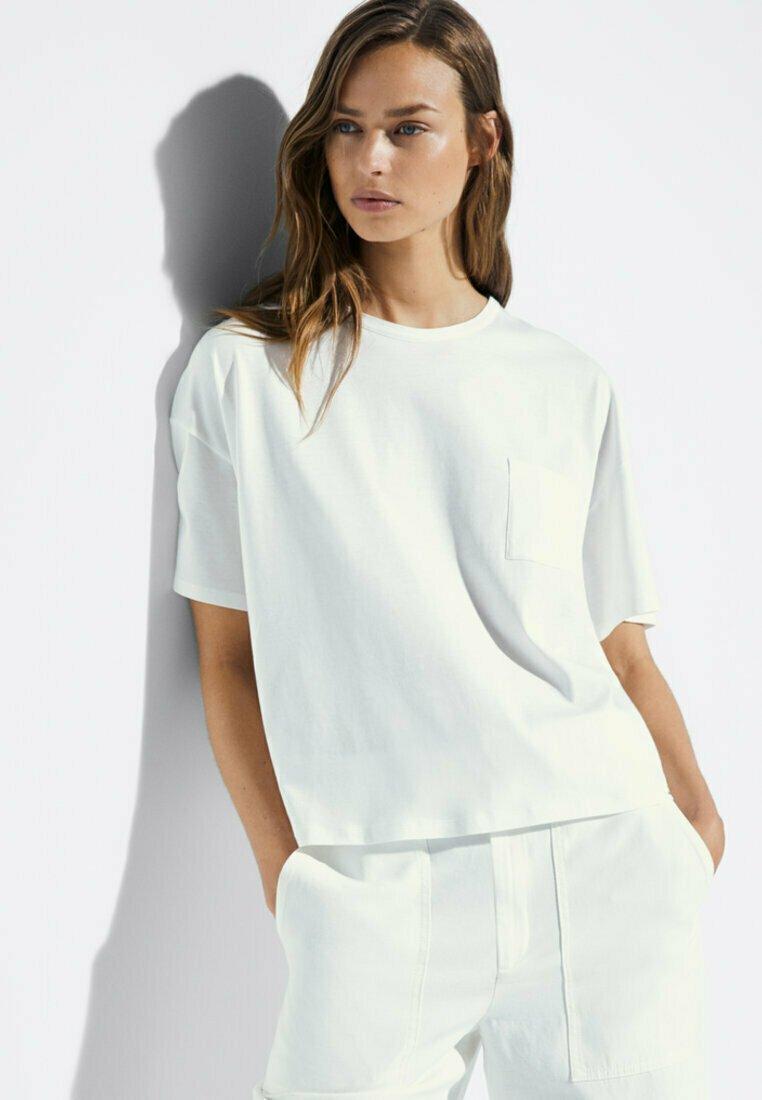 Massimo Dutti - MIT TASCHE  - T-shirt basic - white