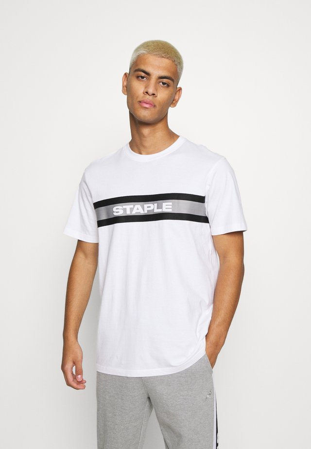 TAPE LOGO - Print T-shirt - white
