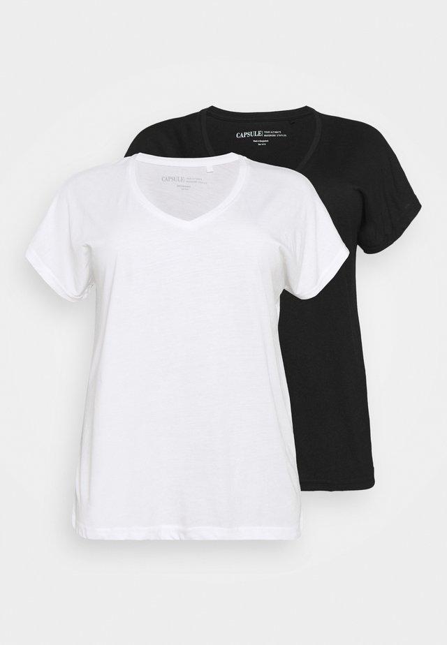 PACK OF SLOUCH 2 PACK - Camiseta básica - black/white