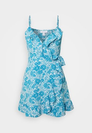 RUFFLE SLIP DRESS - Vestito estivo - blue