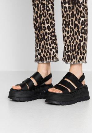 GROUND - Sandály na platformě - black