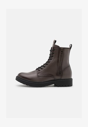 VEGAN AUSTIN - Lace-up ankle boots - dark brown