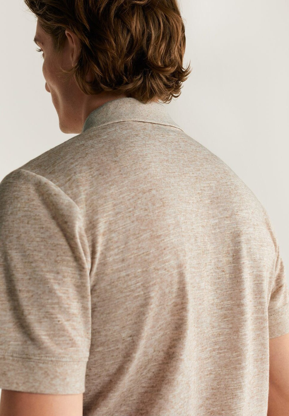 Mango Meliertes Poloshirt Aus Leinen Crochet - Sandfarben