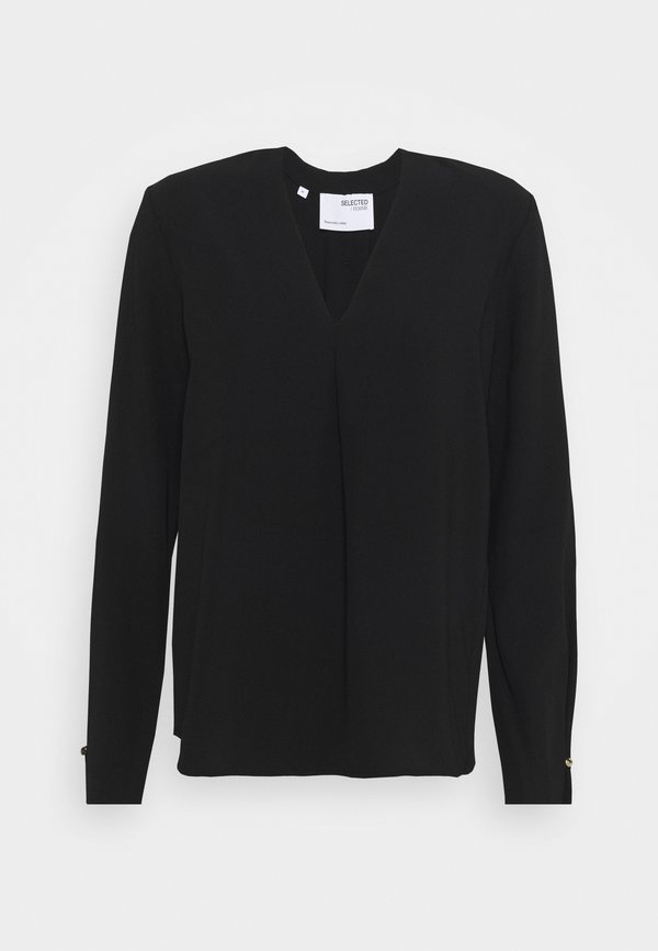Selected Femme SLFLUNA - Bluzka - black/czarny HLHW