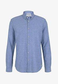 blue white linen stripe