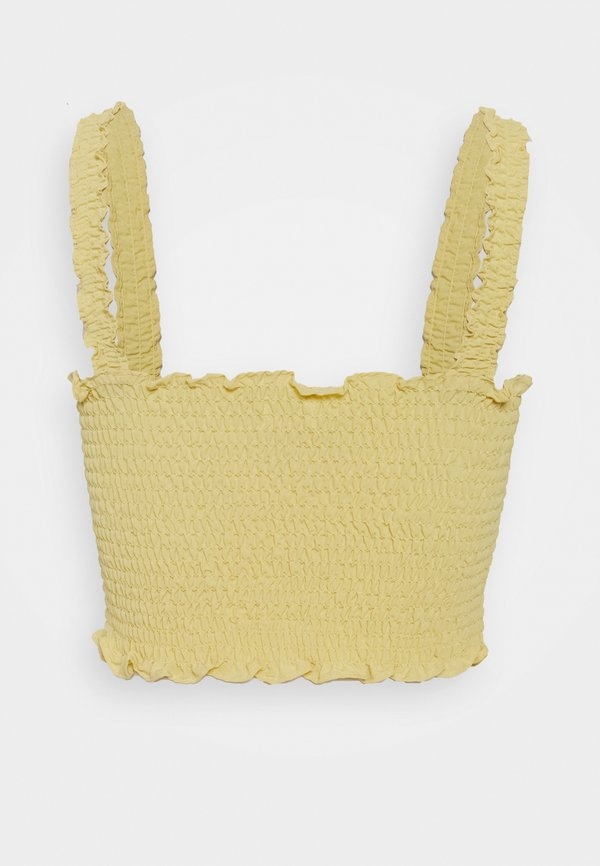 Glamorous CARE SLEEVELESS SMOCKED CROP TOP WITH RUFFLE TRIM - Bluzka - pale yellow/jasnożÓłty CWON