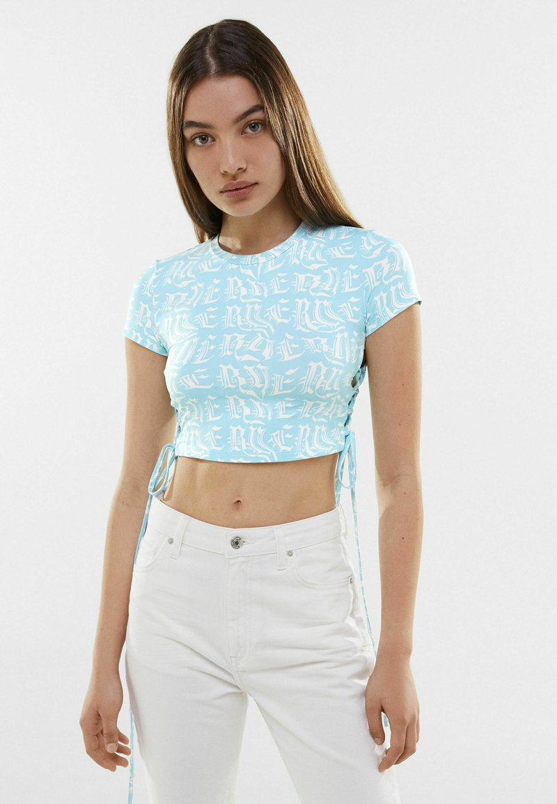 Bershka - T-shirt med print - turquoise