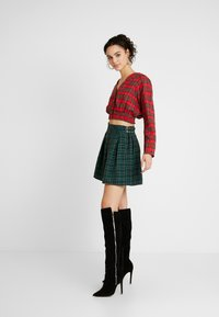 Missguided - SHEERED WAIST LONG SLEEVED CHECK - Blouse - red - 1