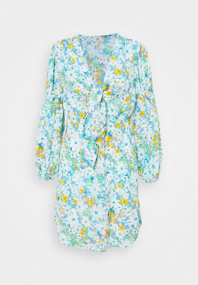 River Island Petite - KENDRICK WRAP MINI DRESS - Korte jurk - blue
