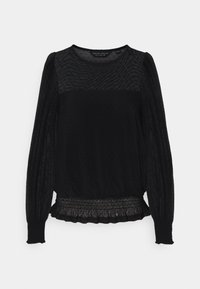 Dorothy Perkins - DOBBY SHIRRED - Long sleeved top - black - 4