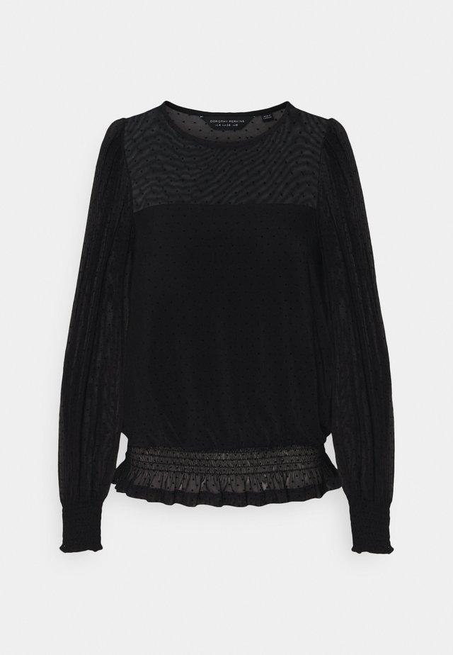DOBBY SHIRRED - Langarmshirt - black