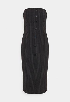 STRAPLESS BUTTON FRONT DRESS - Pouzdrové šaty - black