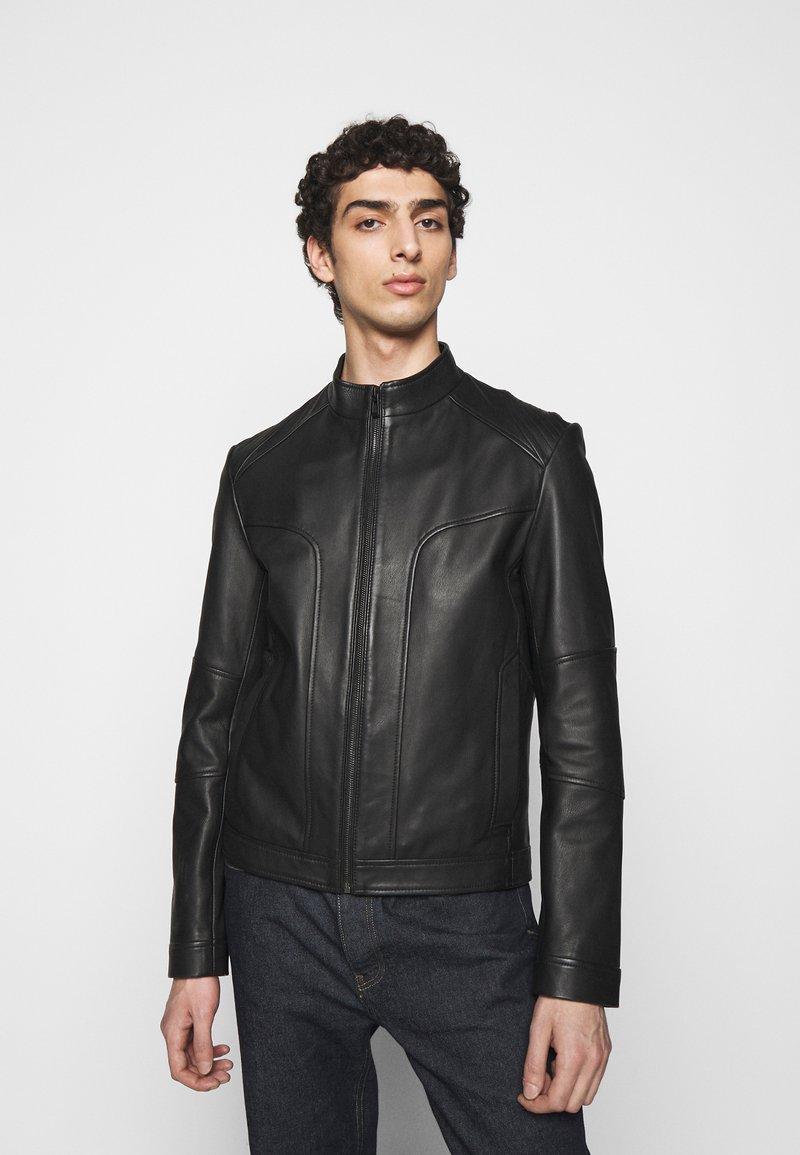 HUGO - LONOS - Kožená bunda - black