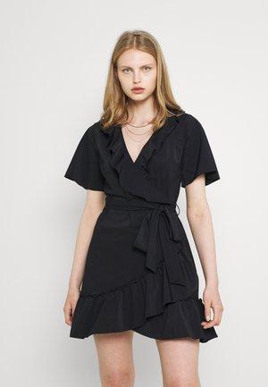 SUZY RUFFLE WRAP DRESS - Day dress - black