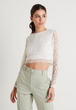ZALANDO X NA-KD LONG SLEEVE LACE TOP - Blůza - off white