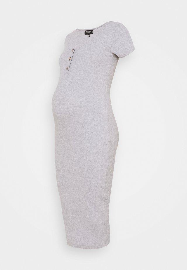 MATERNITY BUTTON FRONT MIDI DRESS - Jerseyklänning - grey marl