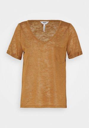 OBJTESSI SLUB V NECK - T-shirt print - chipmunk