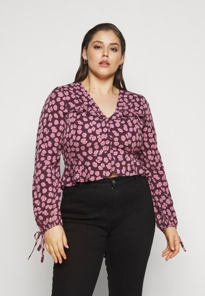 FLORAL TIE SLEEVE BLOUSE - Bluser - purple