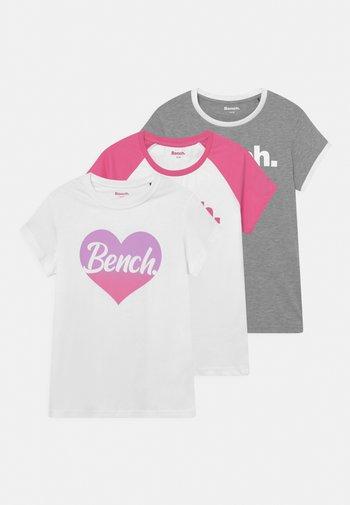 KATYA 3 PACK - Print T-shirt - grey/white/pink