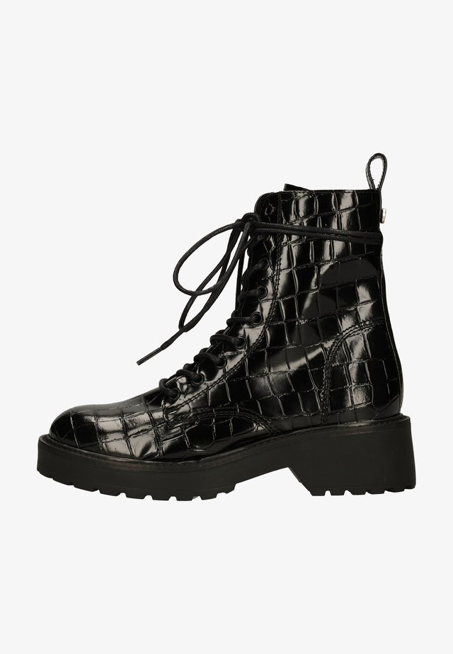 Platform ankle boots - black croco