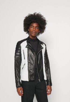 GLADIATOR NOUNOURS - Leather jacket - black/white