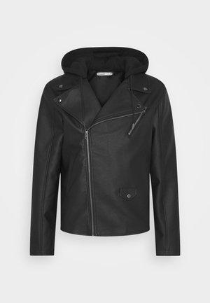 HOODED BIKE JACKET - Faux leather jacket - black