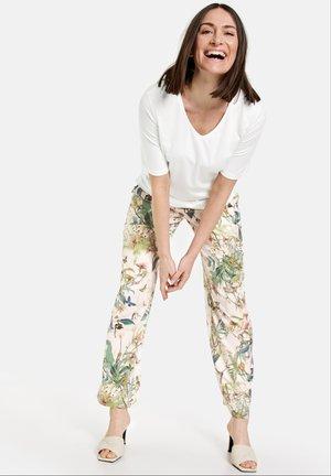 Trousers - off white ligh lime aloe druck