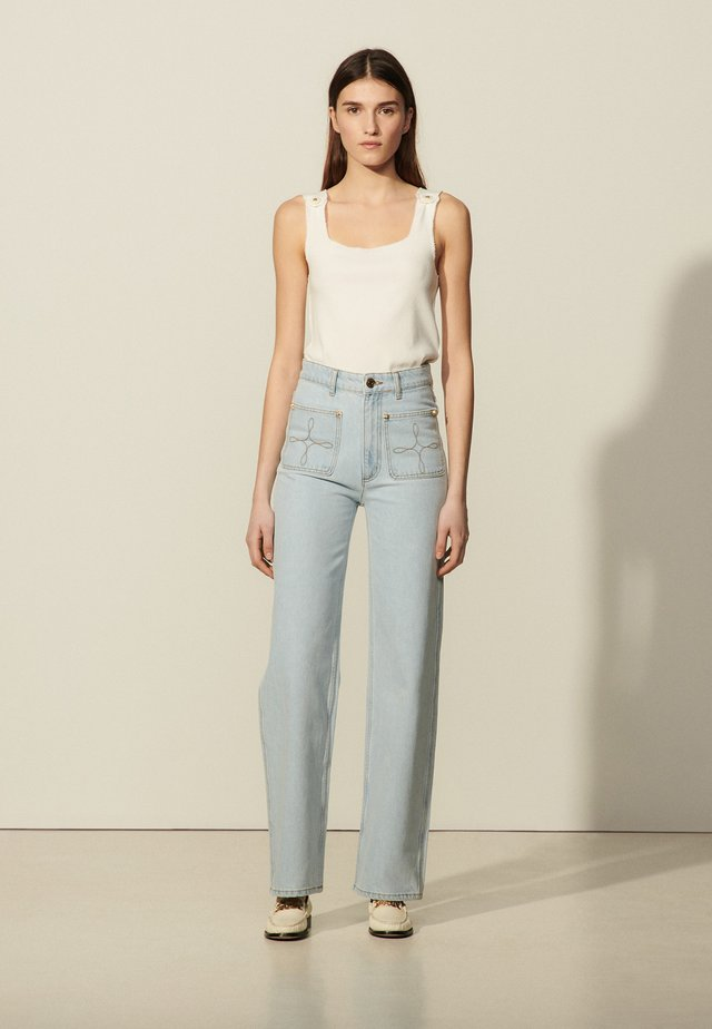Relaxed fit jeans - bleached denim