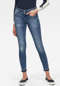 G-Star - LYNN MID SKINNY RIPPED ANKLE - Jeans Skinny Fit - blue denim - 0