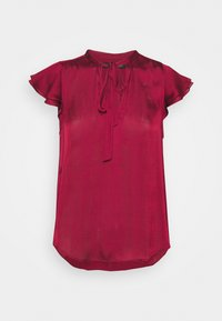 Banana Republic - FLUTTER SLEEVE TIE NECK SOLIDS - Basic T-shirt - wild berry - 0