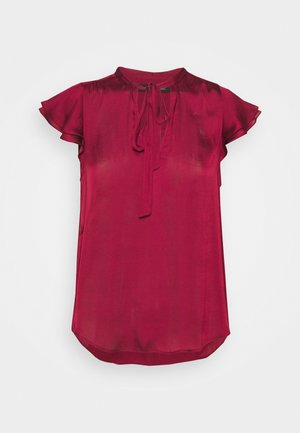 FLUTTER SLEEVE TIE NECK SOLIDS - T-shirt basique - wild berry