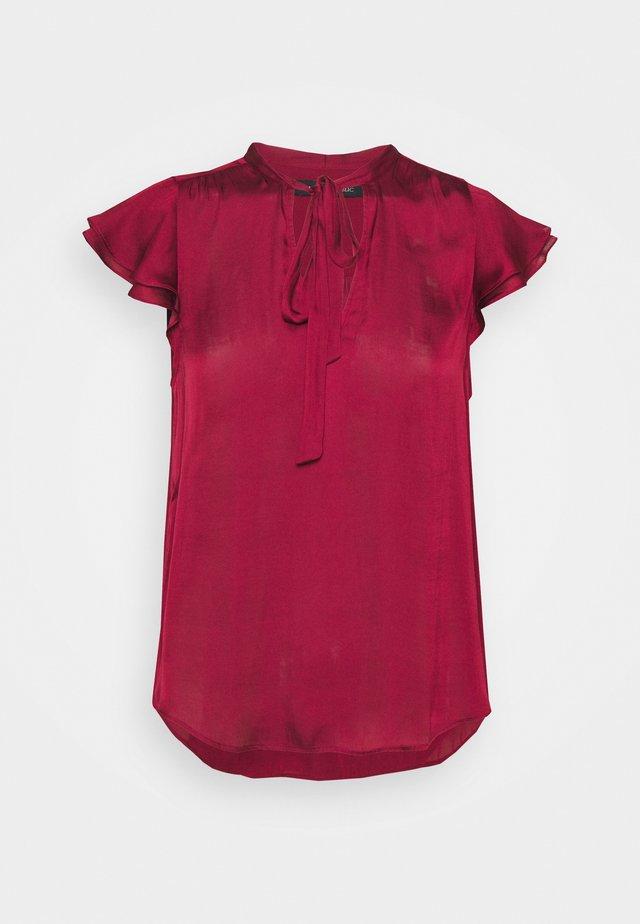 FLUTTER SLEEVE TIE NECK SOLIDS - Basic T-shirt - wild berry