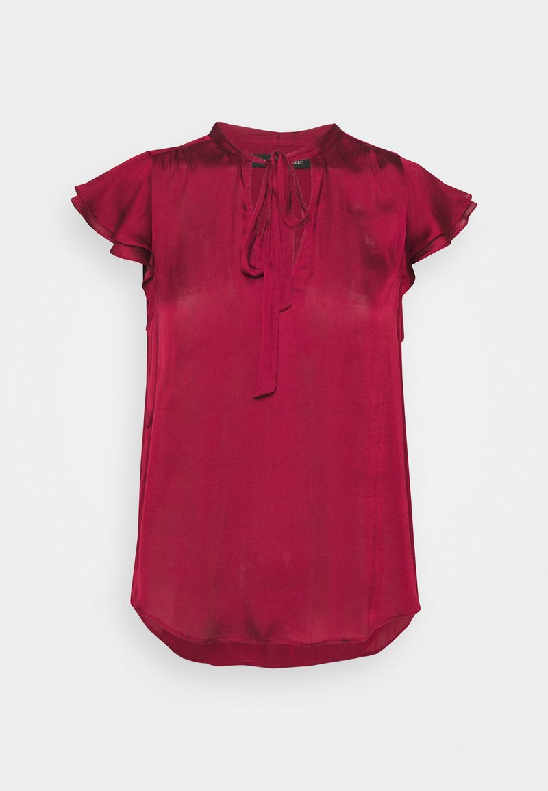 Banana Republic - FLUTTER SLEEVE TIE NECK SOLIDS - Basic T-shirt - wild berry