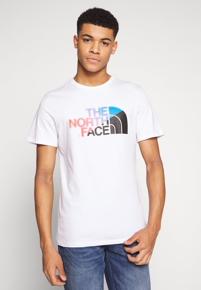 The North Face - Print T-shirt - white/clear lake blue