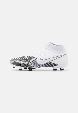 MERCURIAL 7 ACADEMY MDS FG/MG - Moulded stud football boots - white/black