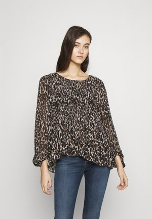 PLISSEE BLOUSE LEO - Long sleeved top - black
