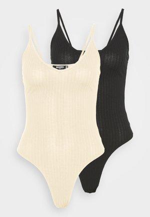PLUNGE NECK BODYSUIT 2 PACK - Top - black/nude